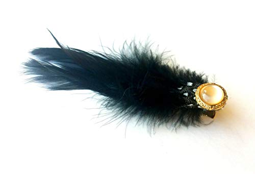 The Guild Clara Costumes - The Clara feather hair clip-black (vintage,
