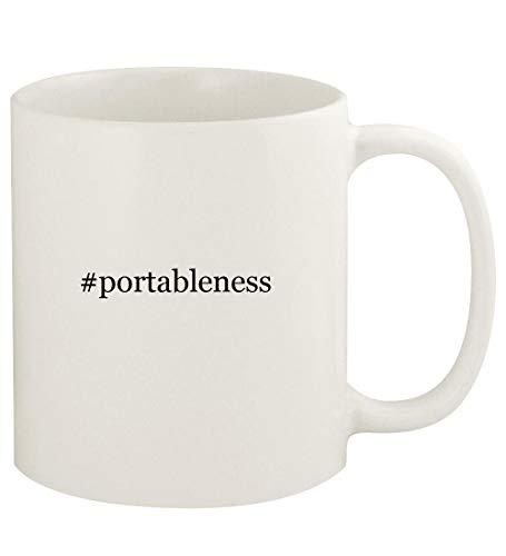 #portableness - 11oz Hashtag Ceramic White Coffee Mug Cup, White