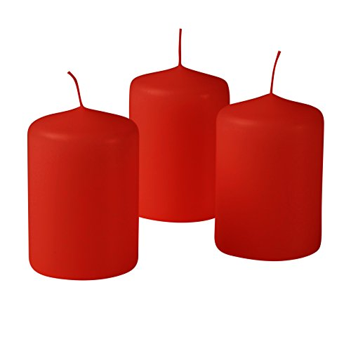 Centerpiece Candle Holiday - 3 x 4 Inches Dripless Red Pillar Candles Set Of 3 Holiday Centerpiece Candles Of 3