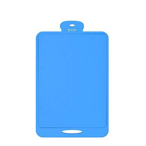 (EXVI Flexible Silicone Cutting Board Antimicrobial and Heat Resistant (Blue))