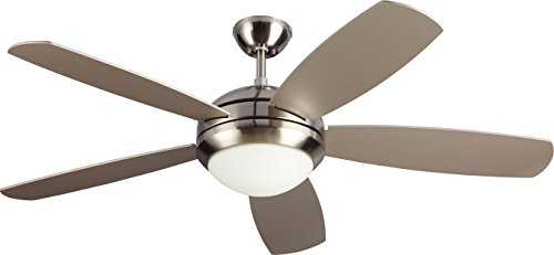 Monte Carlo 5DI52ESBSD Protruding Mount, 5 Silver Blades Ceiling fan with 13 watts light, Brushed Steel ()