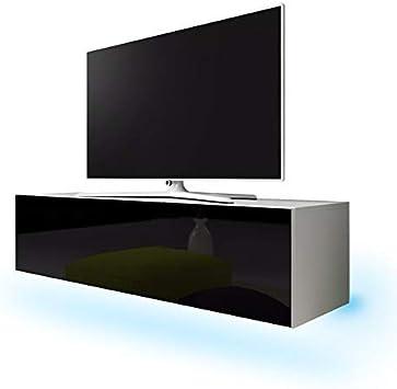 Dynamic24 Simple - Mueble bajo para televisor (LED, 160 cm), Color Blanco Mate y Negro: Amazon.es: Hogar