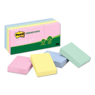 Post-it Greener Notes Products - Post-it Greener Notes - Recycled Notes, 1-1/2 x 2, Four Pastel Colors, 12 100-Sheet Pads/Pack - Sold As 1 Pack - Self-stick removable pads are great for quickly jotting down important messages.