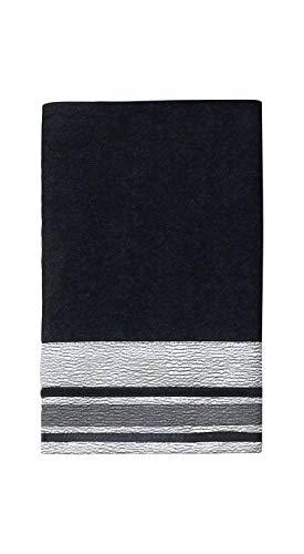 Avanti Linens Geneva Hand Towel, Black/Silver (Avanti Black)
