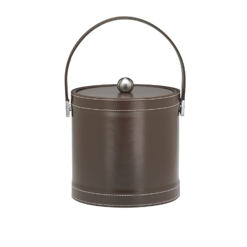 Kraftware Ice Bucket with Stitched Handle, Fabric Lid and Chrome Astro Ball Knob, Chocolate - 3 (Leather Ice Bucket)