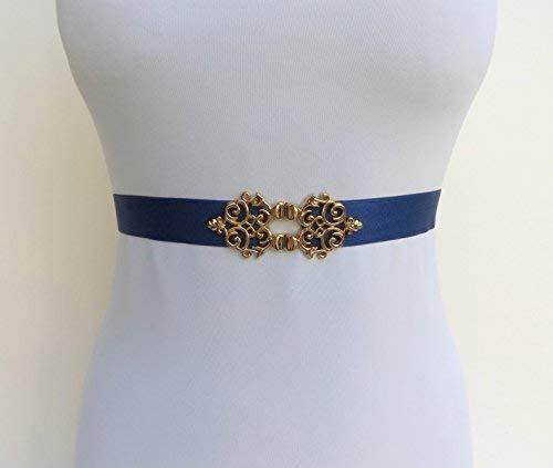 Navy Blue elastic waist belt. Navy blue belt. Dark blue belt. Gold filigree belt. Dress belt. Bridal belt. Bridesmaids belt. Stretch belt.