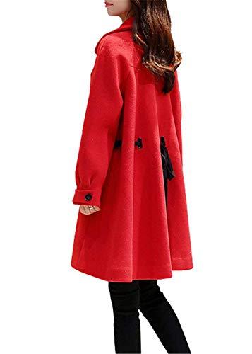 paisseur Bouffant Revers Elgante Hiver Confortables breal Longues Femme Rouge Manches Branch Parka Outerwear Longues Manteau Warm De Hiver Laine Unicolore Manteau qx7PX4wt