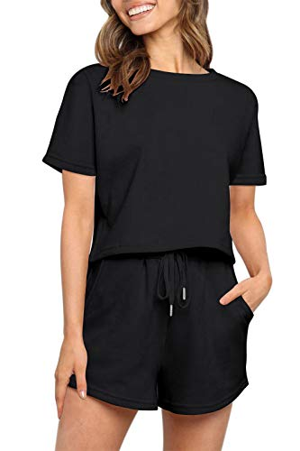 ZESICA Women's Summer Two Piece Pajamas Set Casual Short Sleeve Crop Top and Shorts Sleepwear Sweatsuit Tracksuit with Pocket