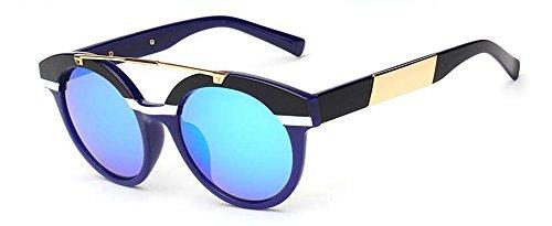inspirées du polarisées en Bleu vintage retro lunettes de rond cercle soleil Lennon métallique Ciel style wIfatUyxq