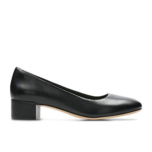 Clarks Womens Black Leather 'Orabella Alice' Block Heel Court Shoes Cfhgtw