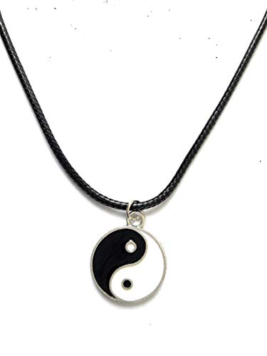 Classic Vintage Tiberton Silver Boho Yin Yang Pendant with Black Rubber Cord Necklace - Tao Necklace - Feng Shui -Balance and Friendship Pendant Necklace.