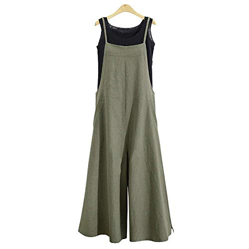 (Oubaybay Jumpsuits for Women Long Suspender Twin Side Bib Wide Leg Overalls Pant (Green, Small))