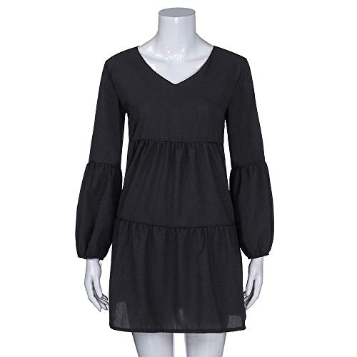Length Women Lantern Black Sleeves Knee Dress Long Dresses DATEWORK for V Neck with Draped Solid F0g6EW