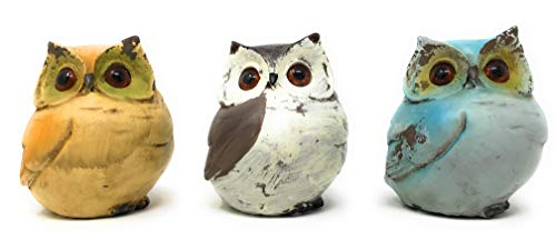 (Green Tree Woodland Owls Carved Resin Statues, Set of 3 Figurines)