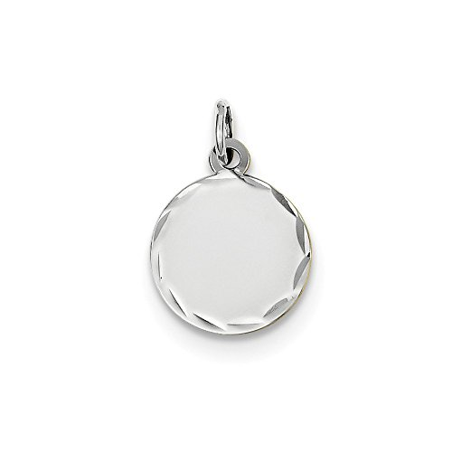 14k White Gold Etched .011 Gauge Engraveable Round Disc Pendant Charm Necklace Pearl Engravable Fine Jewelry Gifts For Women For Her ()