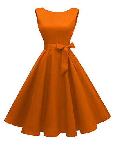 Hanpceirs Women's Boatneck Sleeveless Swing Vintage 1950s Cocktail Dress Orange L