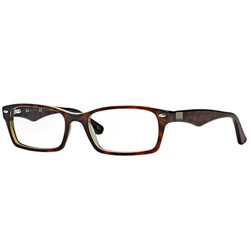 - Ray-Ban RX5206 Rectangular Eyeglass Frames, Tortoise Green/Demo Lens, 52 mm