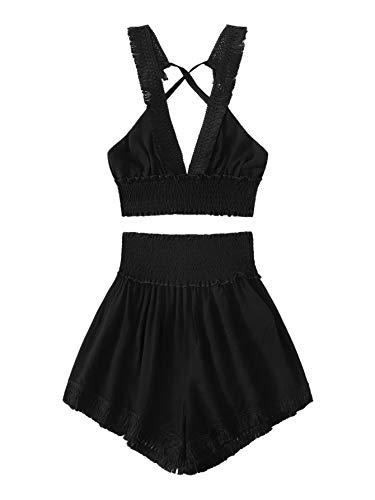 SweatyRocks Women's 2 Piece Deep V Neck Backless Crop Cami Top and Shorts Set Black - Piece Cami 2 Top