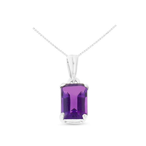 - 14K White Gold 5 x 7 mm. Emerald Cut Genuine Natural Amethyst Pendant With Square Rolo Chain Necklace