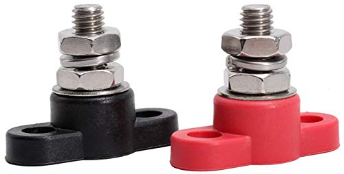Fastronix 3/8'' Stainless Steel Single Stud Power and Ground Junction Block Red and Black by Fastronix Solutions