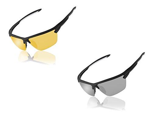White Frame Silver Mirror Lenses - Black + white frame, Transp Yellow Lens, Black + white frame, silver Mirror Lens