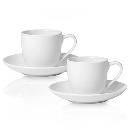 Germany Demitasse (For Me Espresso Cup and Saucer Set of 4 by Villeroy & Boch - Premium Porcelain - Made in Germany - Dishwasher and Microwave Safe - Service for 2)
