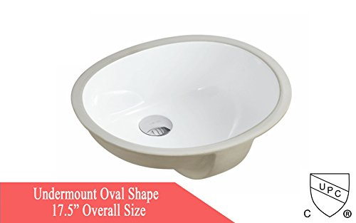KINGSMAN 17.5 INCH Oval Undermount Vitreous Ceramic Lavatory Vanity Bathroom Sink Pure White (17.5 (Undermount Oval Bathroom Sink)