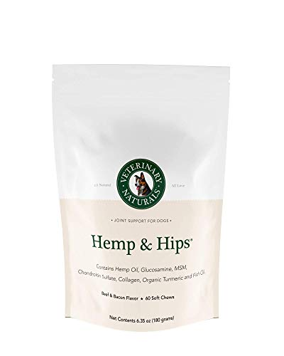 Veterinary Naturals Hemp & Hips Soft Chews Joint Supplement for Dogs - Hemp Oil, Turmeric and Glucosamine for Dogs - Joint Support for Dogs' Arthritis & Pain - Dog Joint Supplements (Beef & Bacon) Beef Muscle Pet Treats