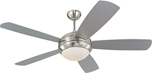 """Monte Carlo 5DI52BSD-L Discus 52"""" Ceiling Fan with Light and Pull Chain, 5 Blades, Brushed Steel"""