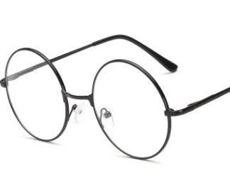 Pasabideak Unisex Retro Brille Runde Metallrahmen Klare Linse Sonnenbrille Vintage Geek Brillen