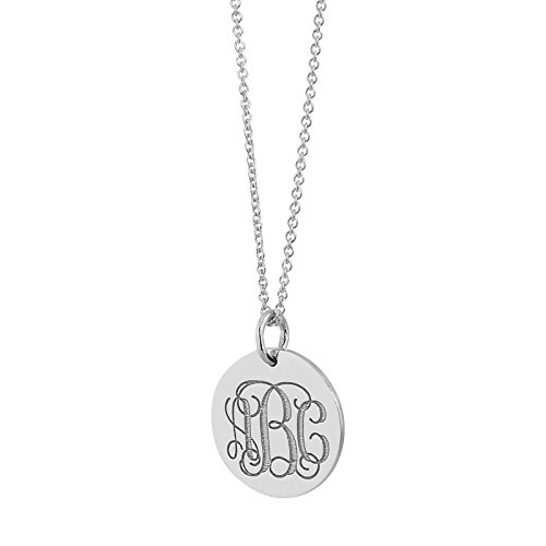 Soul Jewelry 3 Initials Monogram Charm Pendant Solid 10K White Gold 1/2 Inch Dainty Small Disc Deep Laser Engraving GC06 (16)
