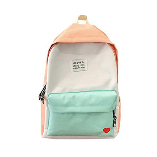 Classic School Backpack Casual Style Lightweight Canvas School Bag Travel Daypack for Men & Women (Pink)