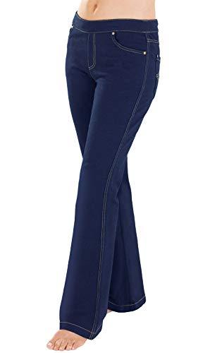 PajamaJeans Petite Jeans for Women - Petite Pull On Jeans, Indigo, L