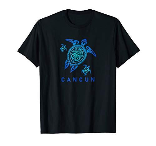 Cancun Mexico T-Shirt Sea Blue Tribal Turtle