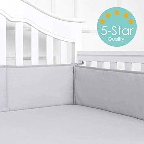 (TILLYOU Baby Safe Crib Bumper Pads for Standard Cribs Machine Washable Padded Crib Liner Thick Padding for Nursery Bed 100% Silky Soft Microfiber Polyester Protector de Cuna, 4 Piece/Gray)