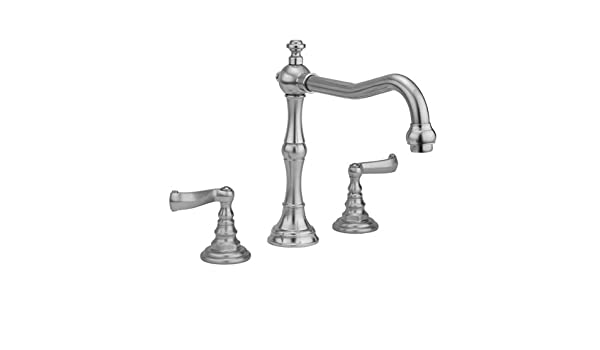 Jaclo 9930-T675-S-240-TRIM-SG Roaring 20s Bathtub Filler with Hex Lever Handles and Straight Handshower Satin Gold