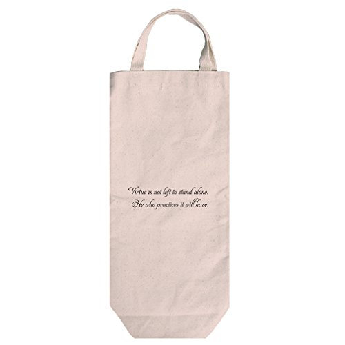 Canvas Wine Bag Handles Tote Virtue Is Not Left To Stand Alone Style In Print - Left Stand Bag