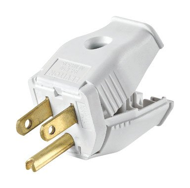 White 15a Plug 3 Wire Grounding Connector
