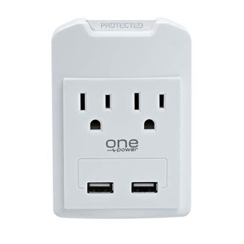 One Power 2 Outlet Surge Protector and Outlet Extender with 2 USB Ports