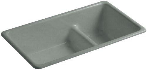 KOHLER K-6625-FT Iron Tones Smart Divide Self-Rimming or Undercounter Kitchen Sink, Basalt