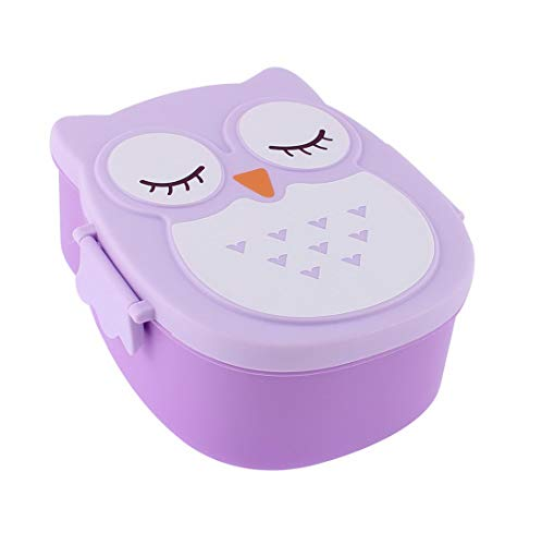 (Mikash Plastic Cartoon Owl Design 2 Compartments Lunch Box Food Storage Container | Model FDCNTNR - 241 | )
