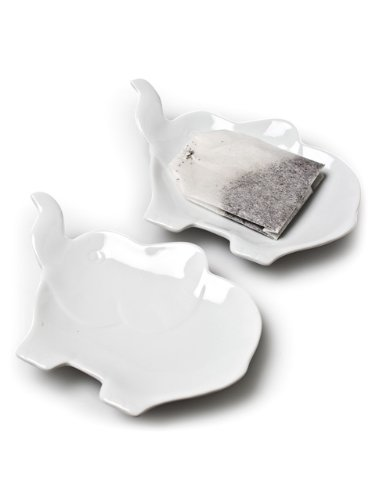 Set 6 Pieces White Porcelain Figural Elephants Teabag Tea Bag Holder Plate Dish by American Chateau