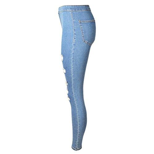 Oudan Up Slim Et Bleu Legging Skinny Haute Trou Femme Stretch Dchir Taille Pantalons Jeans Clair Push 4qYcr4