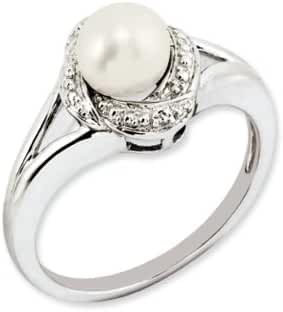 Sterling Silver Diamond And Cultured Pearl Ring