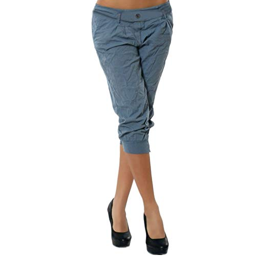 - Women Summer Elastic Waist Boho Check Pants Baggy Wide Leg Plus Size Yoga Capris Blue
