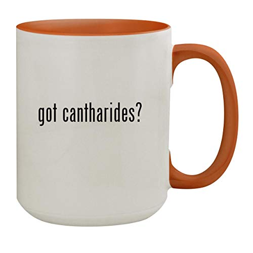 got cantharides? - 15oz Colored Inner & Handle Ceramic Coffee Mug, Orange (Jewelry Star Moravian)