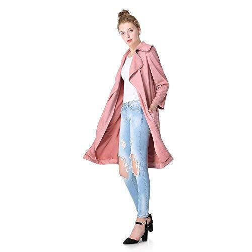 Manica Trench Camoscio Lunga Abbigliamento Vintage Cappotto Bavero Prodotto Baggy Autunno Giacca Donna 5 Outerwear Moda Colour Casual Primaverile Plus Targogo Eleganti 8xqXBq