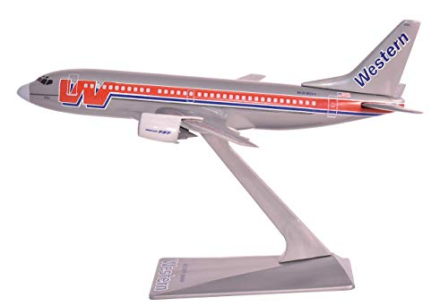 Flight Miniatures Western Airlines Bare Metal Boeing 737-300 1:200 Scale Display Model with Stand (Certified Refurbished)