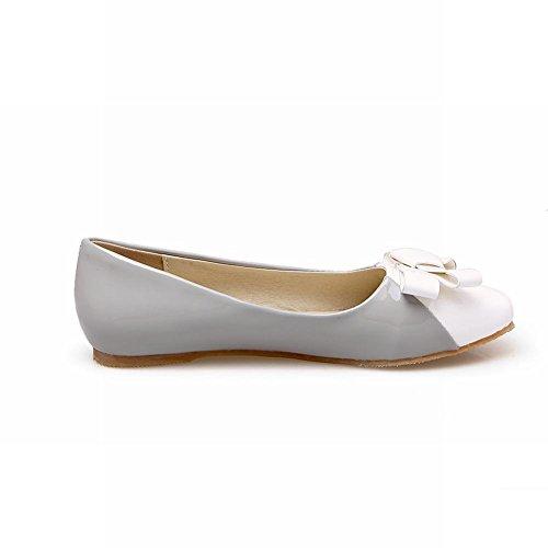 Show Shine Womens Casual Bows Pumps Square Toe Flats Shoes Grey KCyo1