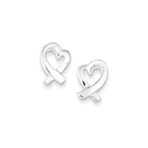 Sterling Silver Polished Awareness Ribbon Heart Post Earrings Length 14mm ()